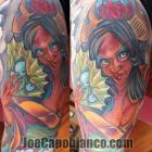 Geisha with Fan Tattoo by Joe Capobianco