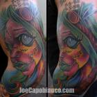 Stitches Capo Gal Tattoo by Joe Capobianco
