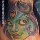 Monster Capo Gal Hand Tattoo by Joe Capobianco