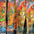 Tibetan Mask, and Skull, 1/2 Sleeve